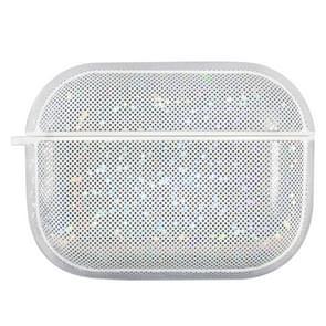 NIILLKIN Anti-fall PU + TPU Shining Protection Glitter Case voor AirPods Pro(Wit)