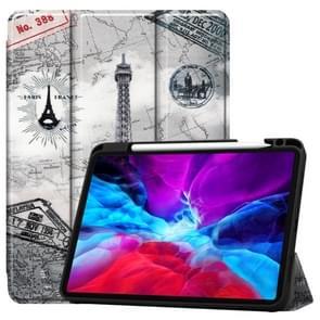 Voor iPad Pro 12 9 inch 2020 Painted TPU Horizontale Flip Lederen Case met Holder & Sleep / Wake-up Function & Pen Slot (Retro Tower)
