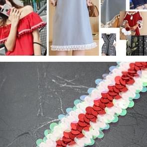 LP000330 Elastic Connection Sequins Lace Belt DIY Kleding accessoires  Lengte: 45.72m  Breedte: 3cm (Rood + Kleur Wit)
