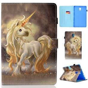 Voor Galaxy Tab A 10.5 T590 Painted Horizontal Flat Leather Case with Sleep Function & Card Slot & Buckle Anti-skid Strip & Bracket & Wallet(Unicorn)