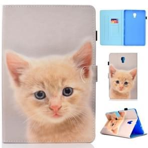 Voor Galaxy Tab A 10.5 T590 Painted Horizontal Flat Leather Case met Sleep Function & Card Slot & Buckle Anti-skid Strip & Bracket & Wallet(Cute Cat)