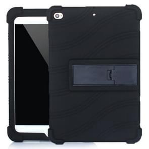 Voor iPad mini 5 / 4 Tablet PC Siliconen beschermhoes met onzichtbare beugel(zwart)