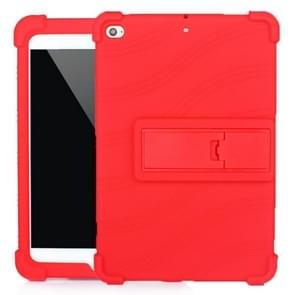 Voor iPad mini 5 / 4 Tablet PC Siliconen beschermhoes met onzichtbare beugel(rood)