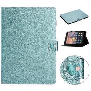 Voor Amazon Kindle Fire HD 10 Love Buckle Glitter Horizontale Flip Lederen Case met Holder & Card Slots(Blauw)