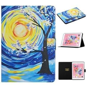 Voor iPad 5 Gekleurd tekenpatroon Horizontaal Flip Lederen hoesje met Holder & Card Slots & Sleep / Wake-up Functie (Starry Sky Tree)