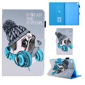 Voor Samsung Galaxy Tab A8.0 (2019) T290 Gekleurd tekenpatroon Horizontaal Flip Lederen hoesje met Holder & Card Slots & Anti-slip Strip(Music Dog)