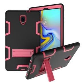 Voor Samsung Galaxy Tab A 10.5 T590 Schokbestendige PC + Siliconen beschermhoes  met houder (Black Rose)