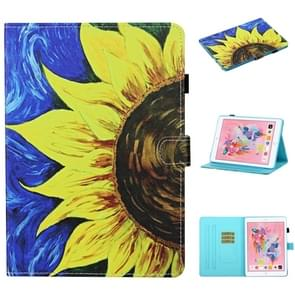 Voor iPad 10.2 / Air 2019 / Pro 10.5 Gekleurde tekenstiksels Horizontale Flip Lederen case  met Holder & Card Slots & Sleep / Wake-up Functie(Zonnebloem)