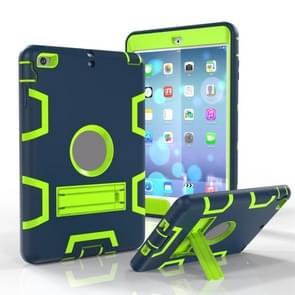 Voor iPad Mini 5 / 4 Shockproof PC + Siliconen beschermhoes  met houder (Navy Blue Yellow Green)