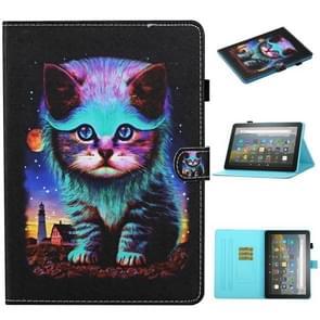 Voor Kindle Fire HD8 (2020) / HD8 Plus (2020) Gekleurde tekenstiksels Horizontale Flip Lederen case met Holder & Card Slots & Sleep / Wake-up Functie(Night Cat)