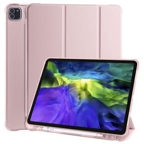 Voor iPad Pro 12.9 (2020) / iPad Pro 12.9(2018) 3-vouwend horizontaal flip PU Leder + SchokbestendigE TPU-behuizing met houder & pensleuf(roze)