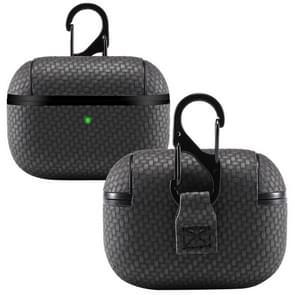 Voor AirPods Pro PC + PU Carbon Fiber Earphone Beschermhoes met Hook(Black)