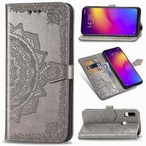 Voor Meizu Note 9 Halverwege Mandala Reliëf patroon Horizontaal Flip PU Lederen Case met Kaartslots & Houder & Wallet(Grijs)