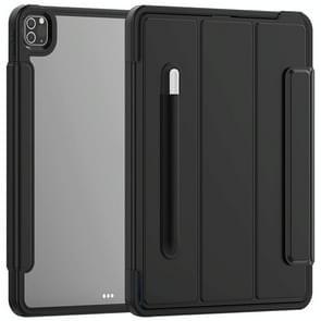 Voor iPad Pro 12.9 (2020) / (2018) Acryl + TPU Horizontale Flip Smart Leather Case met drieklapbare houder & penslot & wake-up / slaapfunctie(zwart)