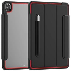 Voor iPad Pro 12.9 (2020) / (2018) Acryl + TPU Horizontale Flip Smart Leather Case met drieklapbare houder & penslot & wake-up / slaapfunctie(Rood+Zwart)