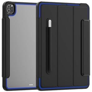 Voor iPad Pro 12.9 (2020) / (2018) Acryl + TPU Horizontale Flip Smart Leather Case met drieklapbare houder & penslot & wake-up / slaapfunctie(Blauw+Zwart)