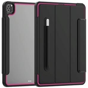 Voor iPad Pro 12.9 (2020) / (2018) Acryl + TPU Horizontale Flip Smart Leather Case met drieklapbare houder & penslot & wake-up / slaapfunctie(Rose Red+Black)