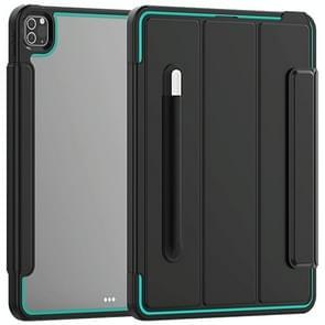 Voor iPad Pro 12.9 (2020) / (2018) Acryl + TPU Horizontale Flip Smart Leather Case met drieklapbare houder & penslot & wake-up / slaapfunctie(Lichtblauw+zwart)