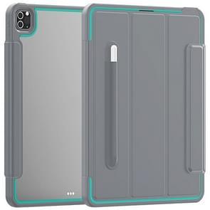 Voor iPad Pro 12.9 (2020) / (2018) Acryl + TPU Horizontale Flip Smart Leather Case met drieklapbare houder & penslot & wake-up / slaapfunctie(Lichtblauw+grijs )