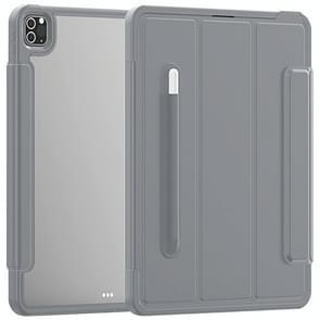 Voor iPad Pro 12.9 (2020) / (2018) Acryl + TPU Horizontale Flip Smart Leather Case met drieklapbare houder & penslot & wake-up / slaapfunctie(Grijs)