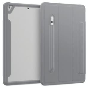 Voor iPad 10.2 / Air (2019) Acryl + TPU Horizontale Flip Smart Leather Case met Drieklapbare Houder & Pen Slot & Wake-up / Slaapfunctie(Grijs)