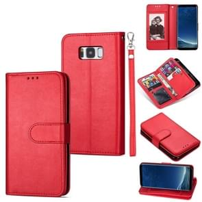 Voor Samsung Galaxy S8+ Ultra-thin 9 Card Horizontal Flip Leather Case  met Card Slots & Holder & Lanyard(Red)