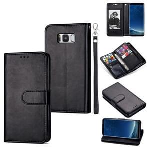 Voor Samsung Galaxy S8+ Ultra-thin 9 Card Horizontal Flip Leather Case  met Card Slots & Holder & Lanyard(Black)