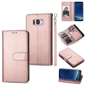 Voor Samsung Galaxy S8+ Ultradunne 9-kaart horizontale flip lederen hoes  met kaartslots & houder & lanyard(Rose Gold)