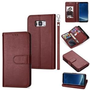 Voor Samsung Galaxy S8+ Ultra-thin 9 Card Horizontal Flip Leather Case  met Card Slots & Holder & Lanyard(Brown)