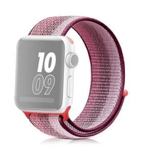Voor Apple Watch Series 5 & 4 40mm / 3 & 2 & 1 38mm nylon loop watchband (Berry Color)