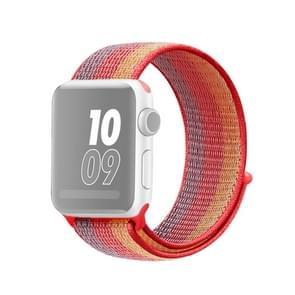 Voor Apple Watch Series 5 & 4 44mm / 3 & 2 & 1 42mm nylon loop watchband (Geel oranje)
