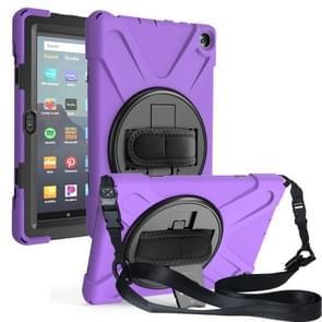 Voor Amazon Kindle Fire HD8 (2020) Shockproof Kleurrijke Siliconen + PC Beschermhoes met Holder & Shoulder Strap & Hand strap(Paars)