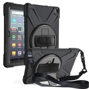 Voor Amazon Kindle Fire HD8 (2020) Shockproof Kleurrijke Siliconen + PC Beschermhoes met Holder & Shoulder Strap & Handband(Zwart)