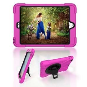 Voor iPad Mini 3 & 2 & 1 Schokbestendige Kleurrijke Siliconen + PC Beschermhoes met Holder & Hand Grip Strap(Rose Red)