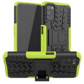 Voor OPPO A52 / A72 / A92 Tire Texture Schokbestendige TPU+PC beschermhoes met houder(groen)