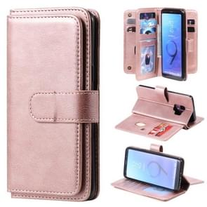 Voor Samsung Galaxy S9 Multifunctionele Magnetische Koperen gesp Horizontale Flip Solid Color lederen koffer met 10 Card Slots & Wallet & Holder & Photo Frame (Rose Gold)
