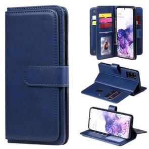 Voor Samsung Galaxy S20+ Multifunctionele Magnetische koperen gesp Horizontale Flip Solid Color lederen kast met 10 Card Slots & Wallet & Holder & Photo Frame(Donkerblauw)