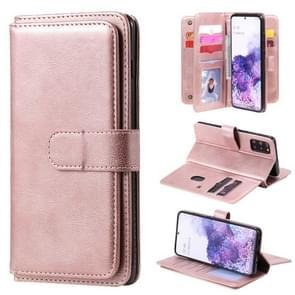 Voor Samsung Galaxy S20+ multifunctionele magnetische koperen gesp horizontale flip effen lederen kast met 10 kaartslots & portemonnee & houder & fotolijst (roségoud)