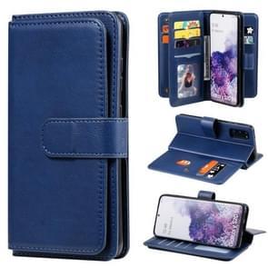 Voor Samsung Galaxy S20 Multifunctionele Magnetische koperen gesp Horizontale Flip Solid Color lederen kast met 10 Card Slots & Wallet & Holder & Photo Frame(Donkerblauw)