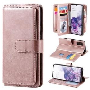Voor Samsung Galaxy S20 Multifunctionele Magnetische koperen gesp Horizontale Flip Solid Color lederen kast met 10 Card Slots & Wallet & Holder & Photo Frame(Rose Gold)
