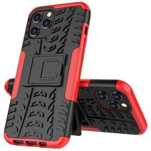 Voor iPhone 12 Pro Max Tire Texture Schokbestendige TPU + pc beschermhoes met houder(rood)
