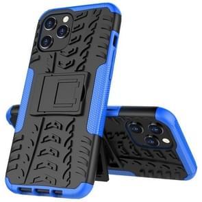 Voor iPhone 12 Pro Max Tire Texture Schokbestendige TPU + pc beschermhoes met houder(blauw)