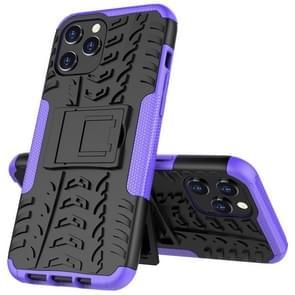 Voor iPhone 12 Pro Max Tire Texture Schokbestendige TPU + pc-beschermhoes met houder(paars)