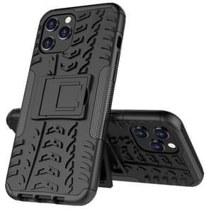 Voor iPhone 12 Pro Max Tire Texture Schokbestendige TPU + pc beschermhoes met houder(Zwart)
