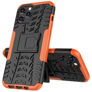 Voor iPhone 12 Pro Max Tire Texture Schokbestendige TPU + PC Beschermhoes met houder(oranje)