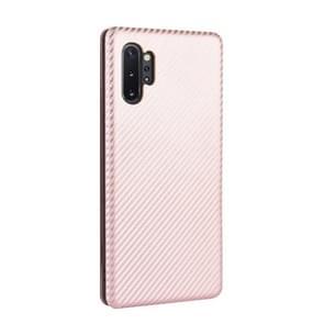 Voor Samsung Galaxy Note10 Plus Carbon Fiber Textuur Magnetische horizontale flip TPU + PC + PU lederen hoes met kaartsleuf(Roze)