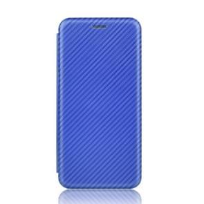 Voor Samsung Galaxy Note10 Plus Carbon Fiber Textuur Magnetische horizontale flip TPU + PC + PU lederen hoes met kaartsleuf(Blauw)