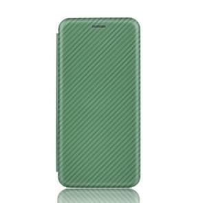 Voor Samsung Galaxy Note10 Plus Carbon Fiber Textuur Magnetische horizontale flip TPU + PC + PU lederen hoes met kaartsleuf(groen)