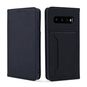 Voor Samsung Galaxy S10+ Strong Magnetism Liquid Feel Horizontal Flip Leather Case met Holder & Card Slots & Wallet(Black)