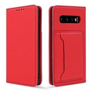 Voor Samsung Galaxy S10+ Strong Magnetism Liquid Feel Horizontal Flip Leather Case met Holder & Card Slots & Wallet(Red)